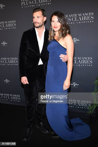 Jamie Dornan and his wife Amelia Warner attend 'Fifty Shades Freed 50 Nuances Plus Claires' Premiere at Salle Pleyel on February 6 2018 in Paris...