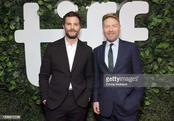 """Jamie Dornan and Kenneth Branagh attend the """"Belfast"""" Premiere during the 2021 Toronto International Film Festival at Roy Thomson Hall on September..."""