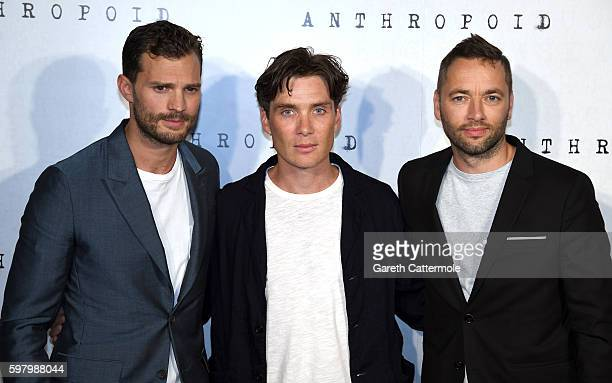 "Jamie Dornan, Cillian Murphy and director Sean Ellis attends the ""Anthropoid"" UK film premiere at the BFI Southbank on August 30, 2016 in London,..."