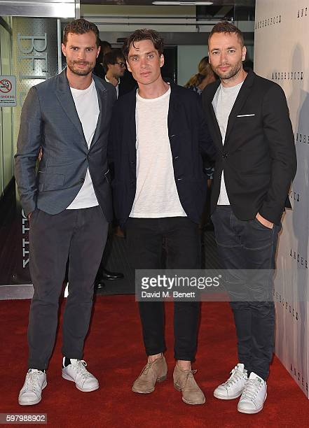 Jamie Dornan Cillian Murphy and Sean Ellis attend the UK Premiere of Anthropoid at the BFI Southbank on August 30 2016 in London England