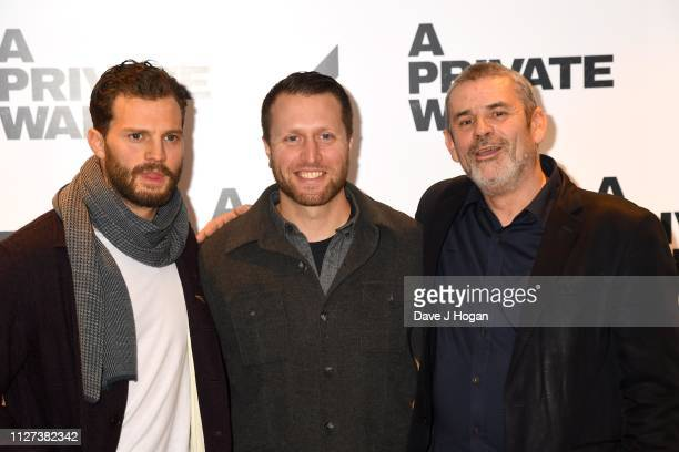 Jamie Dornan Matthew Heineman and Paul Conroy attend a QA screening of A Private War at Odeon Leicester Square on February 04 2019 in London England
