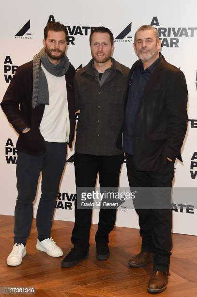 Jamie Dornan Matthew Heineman and Paul Conroy attend a special QA screening of A Private War at Odeon Leicester Square on February 04 2019 in London...