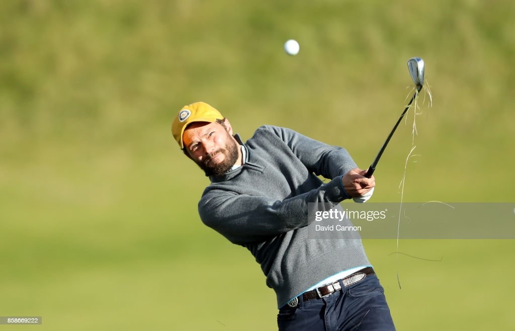 Jamie Dornan of Northern Ireland the television and film actor plays his second shot on the ninth hole during the third round of the 2017 Alfred Dunhill Links Championship on the Kingsbarns Golf Links on October 7, 2017 in Kingsbarns, Scotland.