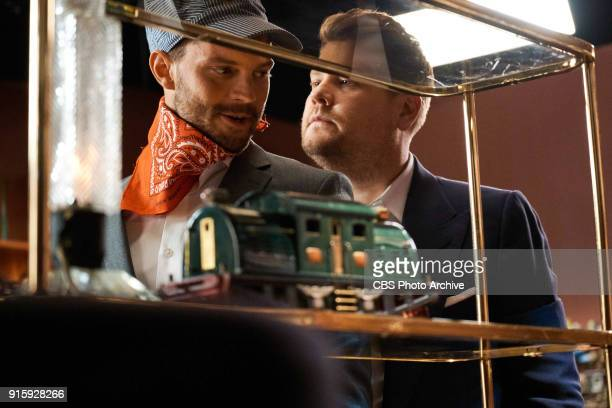 Jamie Dornan performs in the sketch '50 Trains of Corden' with James Corden during 'The Late Late Show with James Corden' Thursday February 1 2018 On...