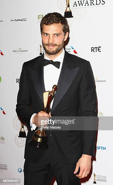 Jamie Dornan wins the Actor in a Lead Role in Television award at the Irish Film And Television Awards on April 5 2014 in Dublin Ireland