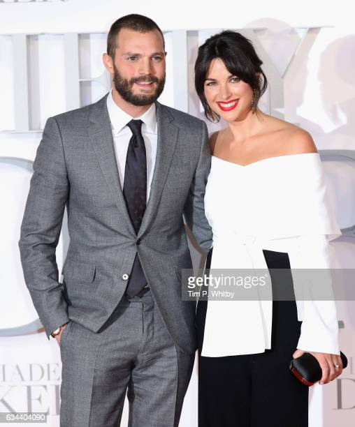 Jamie Dornan with his wife Amelia Warner attend the UK Premiere of 'Fifty Shades Darker' at the Odeon Leicester Square on February 9 2017 in London...