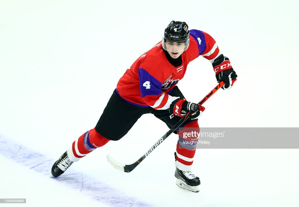 Jamie Drysdale of Team Red skates during the 2020 CHL/NHL Top ...