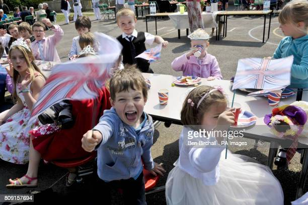Jamie Dunstan aged five pictured at the Bucklebury Church of England Primary School Royal wedding party in the school playground