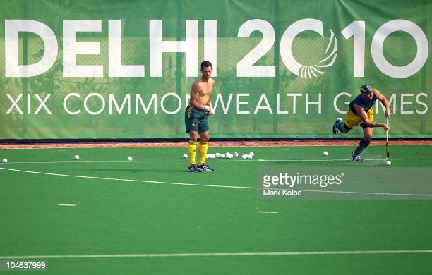 Jamie Dwyer and Glenn Turner of Australia train at the Major Dhyan Chand National Stadium ahead of the Delhi 2010 Commonwealth Games on October 2,...