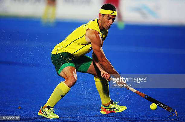 Jamie Dwyer of Australia controls the ball during the final match between Australia and Belgium on day ten of The Hero Hockey League World Final at...