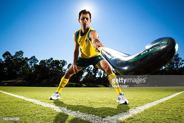 Jamie Dwyer poses during an Australian Men's Kookaburras hockey portrait session at AIS on March 30 2012 in Canberra Australia