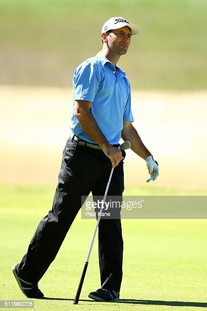 Jamie Dwyer watches his approach shot during the Pro-Am ahead of the 2016 Perth International at Lake Karrinyup Country Club on February 24, 2016 in...