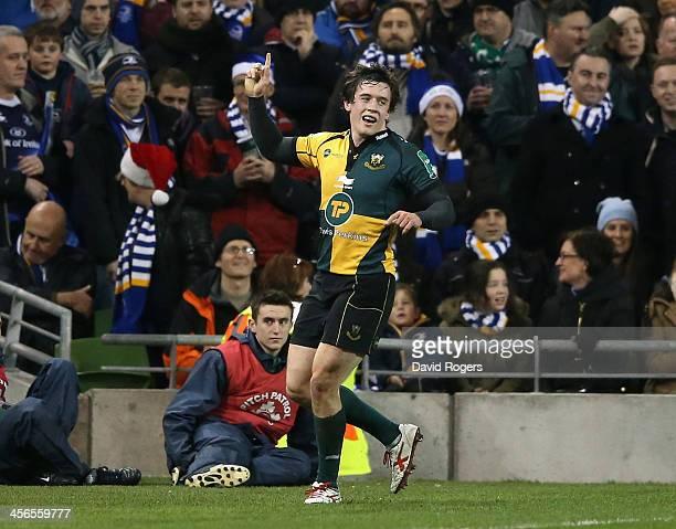 Jamie Elliott of Northampton celebrates after scoring a last minute breakaway try during the Heineken Cup pool 1 match between Leinster and...