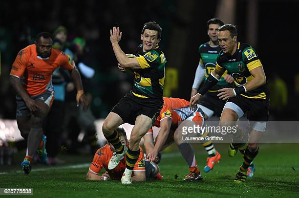 Jamie Elliott of Northampton Saints breaks free on the wing during the Aviva Premiership match between Northampton Saints and Newcastle Falcons at...