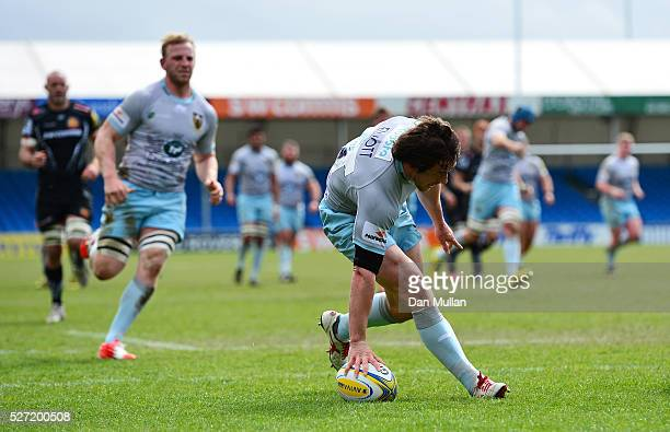 Jamie Elliott of Northampton Wanderers crosses the line to score his side's first try during the Aviva Premiership A League Final between Exeter...