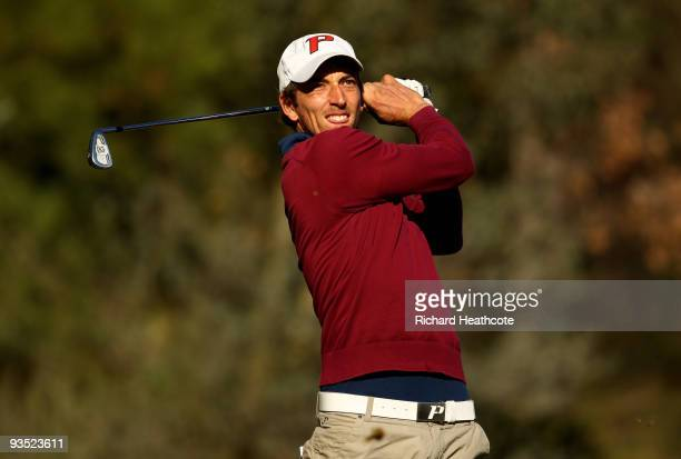 Jamie Elson of England in action during the fourth round of the European Tour Qualifying School Final Stage at the PGA Golf de Catalunya golf resort...