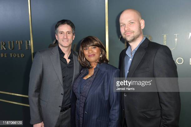 Jamie Erlicht Nichelle Tramble Spellman and Chris Rice arrive at the premiere of Apple TV's 'Truth Be Told' at AMPAS Samuel Goldwyn Theater on...