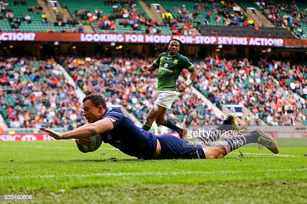 Jamie Farndale of Scotland touches down a try during the Cup Final match between Scotland and South Africa during day two of the HSBC London Sevens...
