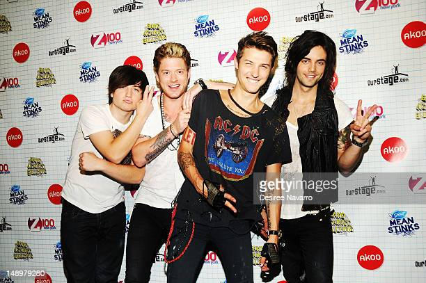 Jamie Follese Nash Overstreet Ryan Follese and Ian Keaggy of Hot Chelle Rae attend Band Against Bullying at BB King Blues Club Grill on July 20 2012...