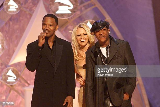 Jamie Fox Pamela Anderson and Jarule presenting at the 44th Annual Grammy Awards held at the Staples Center in Los Angeles CA on Wednesday night Feb...