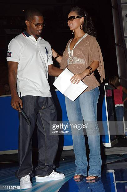 Jamie Foxx and Alicia Keys during 2005 MTV VMA Rehearsals Day 1 at American Airlines Arena in Miami Florida United States