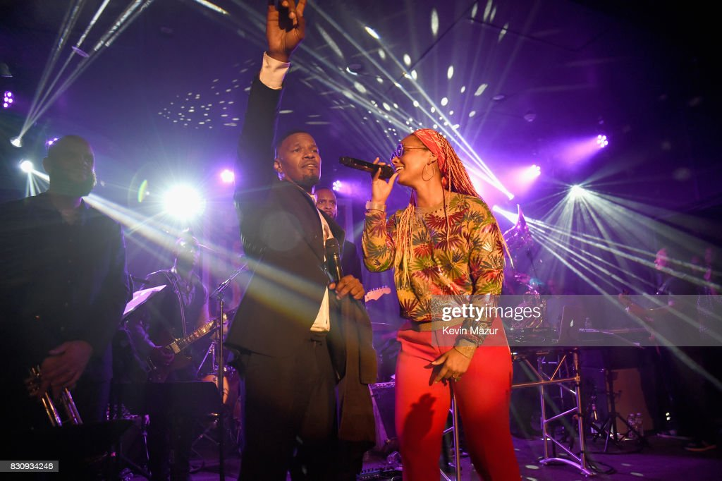 Jamie Foxx and Alicia Keys perform onstage at Apollo in the Hamptons 2017: hosted by Ronald O. Perelman at The Creeks on August 12, 2017 in East Hampton, New York.