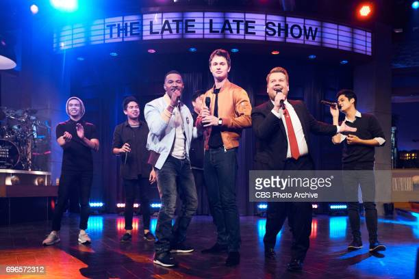 Jamie Foxx and Ansel Elgort perform in a Riff Off with James Corden during 'The Late Late Show with James Corden' Thursday June 15 2017 On The CBS...