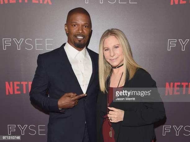 Jamie Foxx and Barbra Streisand attend Barbra Streisand And Jamie Foxx In Conversation At Netflix's FYSEE at Raleigh Studios on June 10 2018 in Los...