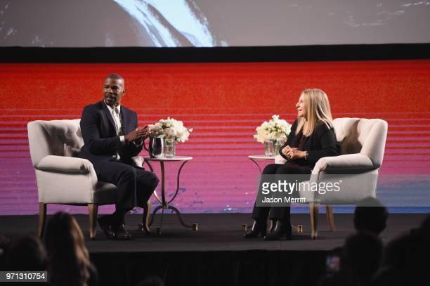 Jamie Foxx and Barbra Streisand speak onstage during Barbra Streisand And Jamie Foxx In Conversation At Netflix's FYSEE at Raleigh Studios on June 10...