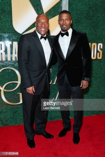 Jamie Foxx and Byron Allen attend an Oscar viewing and after party hosted by Byron Allen at the Beverly Wilshire Four Seasons Hotel on February 24...