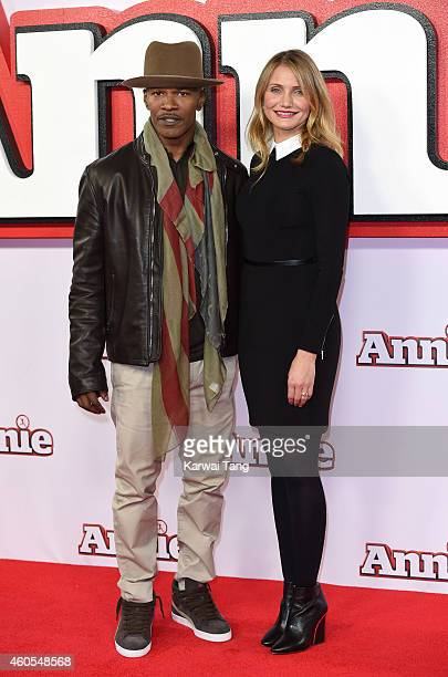 """Jamie Foxx and Cameron Diaz attend a photocall for """"Annie"""" at Corinthia Hotel London on December 16, 2014 in London, England."""