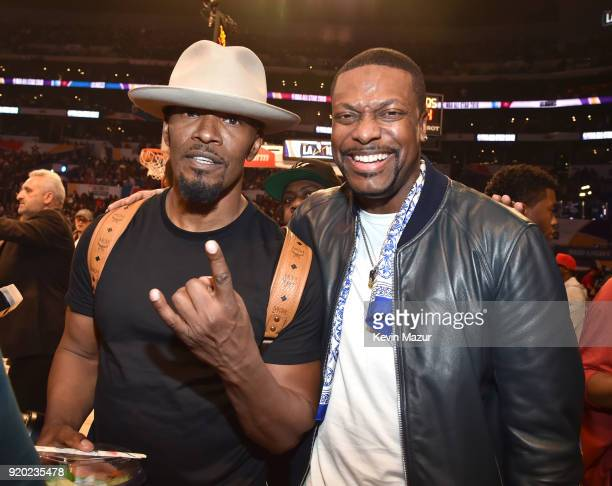 Jamie Foxx and Chris Tucker attend the 67th NBA AllStar Game Team LeBron Vs Team Stephen at Staples Center on February 18 2018 in Los Angeles...