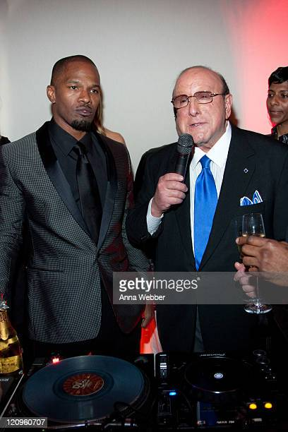 Jamie Foxx and Clive Davis toast L'Ermitage on January 29 2010 in Los Angeles California