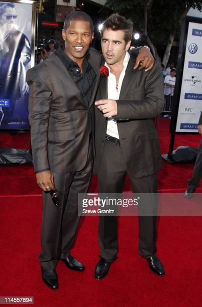 Jamie Foxx and Colin Farrell during 'Miami Vice' Los Angeles Premiere Arrivals at Mann Village in Westwood California United States
