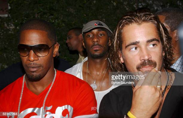 Jamie Foxx and Colin Farrell give interviews to the media outside the Delano Hotel where they were having a party to kick off filming of 'Miami Vice'...