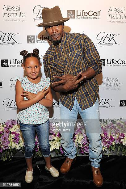 Jamie Foxx and daughter Annalise Bishop attend the GBK LifeCell 2016 Pre Oscar Lounge at The London West Hollywood on February 27 2016 in West...