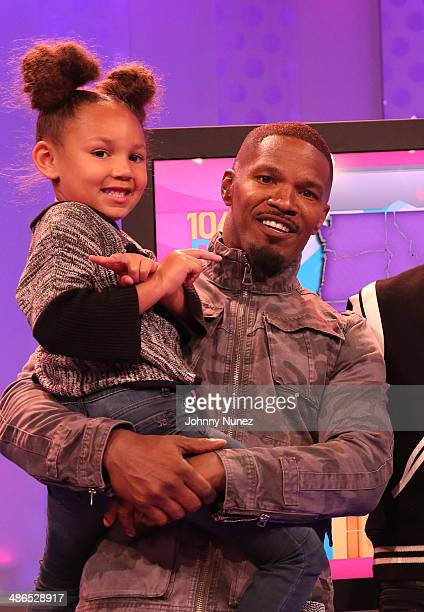 Jamie Foxx and daughter Annalise Bishop visit BET's 106 Park at BET Studios on April 24 2014 in New York City