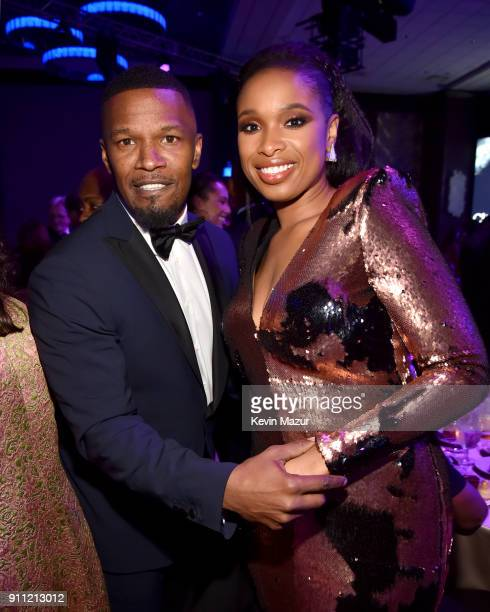 Jamie Foxx and Jennifer Hudson attend the Clive Davis and Recording Academy PreGRAMMY Gala and GRAMMY Salute to Industry Icons Honoring JayZ on...
