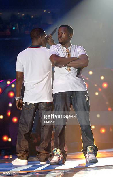 Jamie Foxx and Kanye West during 2005 MTV Video Music Awards Rehearsals Day 1 at American Airlines Arena in Miami Florida United States