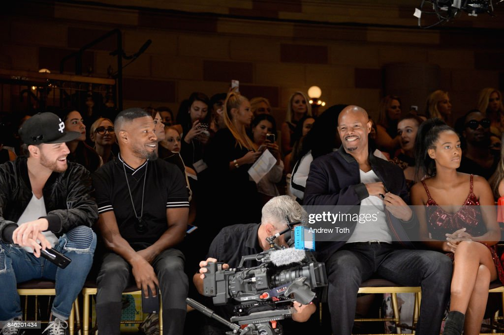 Jamie Foxx (2nd L) and Keenan Ivory Wayans (3rd L) attend the Sherri Hill NYFW SS18 Runway Show at Gotham Hall on September 12, 2017 in New York City.