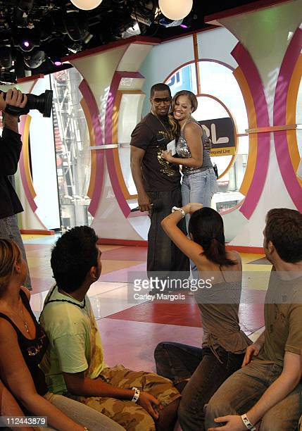 Jamie Foxx and La La Vasquez during Jamie Foxx and Jessica Biel Visit MTV's 'TRL' July 26 2005 at MTV Studios in New York City New York United States