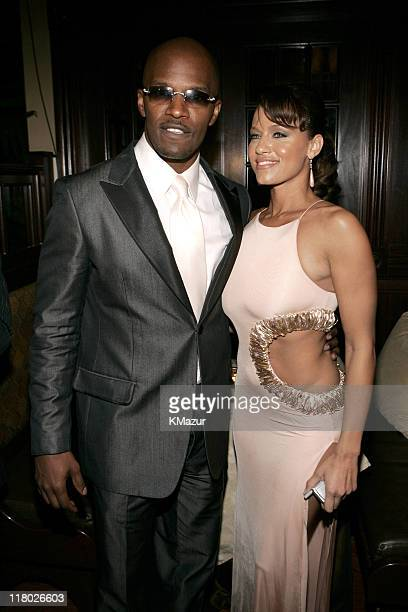 Jamie Foxx and Leila Arcieri during Universal Music Group 2005 PostGRAMMY Party at The Palms Restaurant in Los Angeles California United States