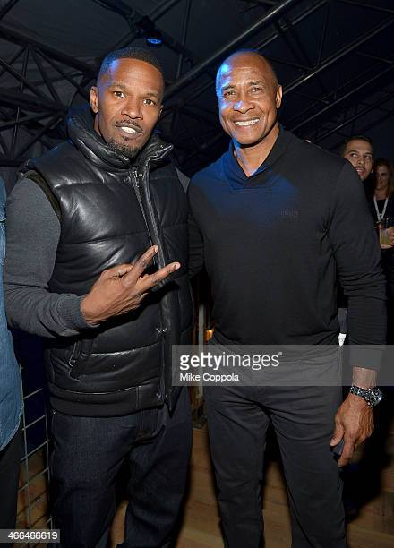 Jamie Foxx and Lynn Swann attend the DirecTV Super Saturday Night at Pier 40 on February 1 2014 in New York City