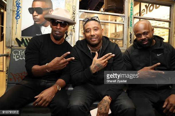 Jamie Foxx and Maino attend Jamie Foxx InStore Shopping Event at Prive Revaux on January 26 2018 in New York City