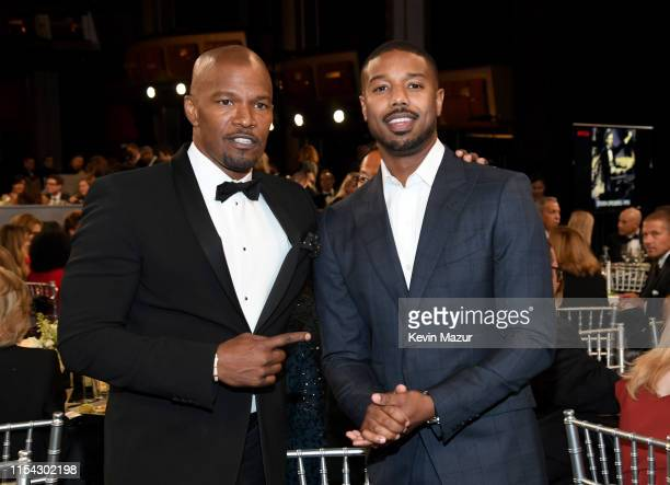 Jamie Foxx and Michael B Jordan attend the 47th AFI Life Achievement Award honoring Denzel Washington at Dolby Theatre on June 06 2019 in Hollywood...