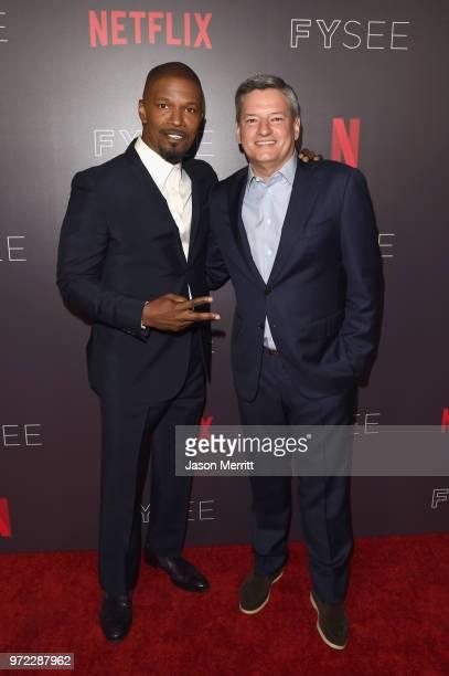 Jamie Foxx and Netflix CCO Ted Sarandos attend Barbra Streisand And Jamie Foxx In Conversation At Netflix's FYSEE at Raleigh Studios on June 10 2018...