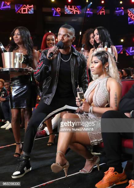 Jamie Foxx and Nikki Minaj attend the 2018 BET Awards at Microsoft Theater on June 24 2018 in Los Angeles California