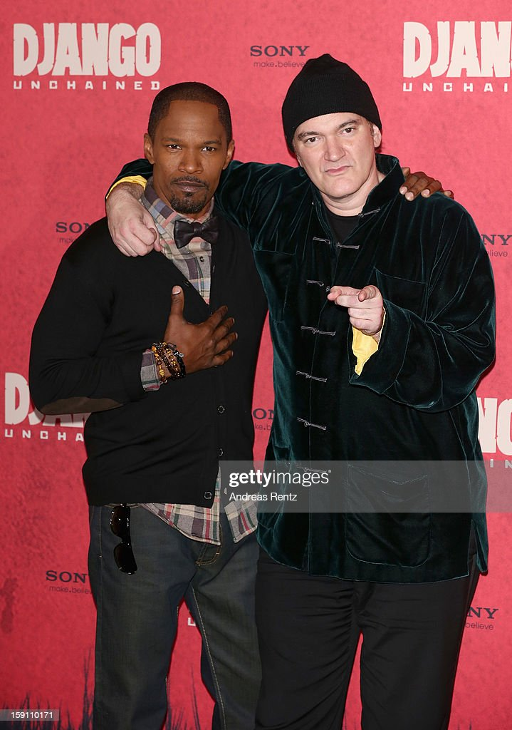 Jamie Foxx and Quentin Tarantino attend 'Django Unchained' Berlin Photocall at Hotel de Rome on January 8, 2013 in Berlin, Germany.