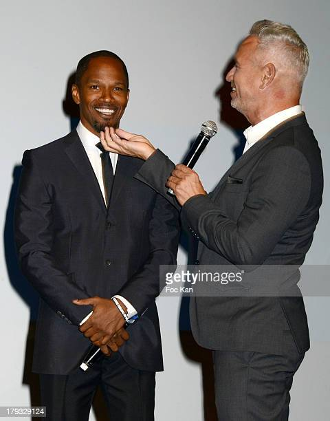 Jamie Foxx and Roland Emmerich attend the 'White House Down' Premiere at The 39th Deauville Film Festival at the CID on September 1 2013 in Deauville...