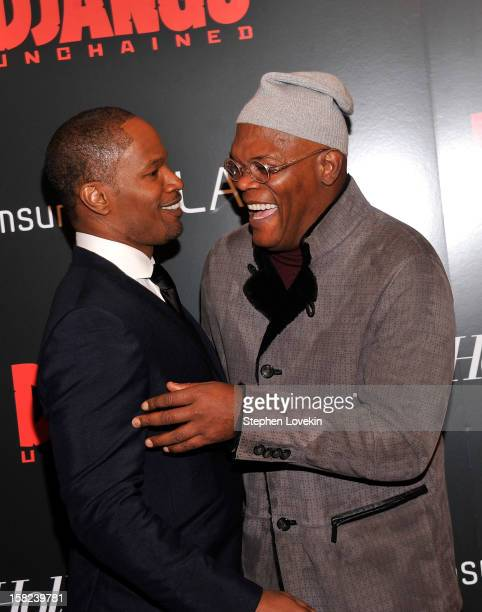 Jamie Foxx and Samuel L Jackson attend a screening of Django Unchained hosted by The Weinstein Company with The Hollywood Reporter Samsung Galaxy and...